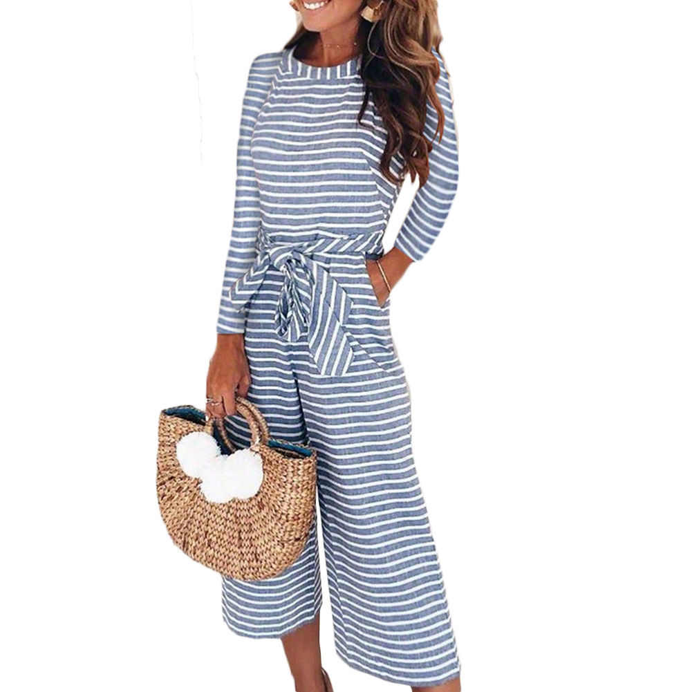 <font><b>2018</b></font> <font><b>Sexy</b></font> <font><b>Jumpsuits</b></font> Women Long Sleeve Striped <font><b>Jumpsuit</b></font> Rompers Loose Trousers Wide Leg Pants Fashion Belted Leotard Overalls image