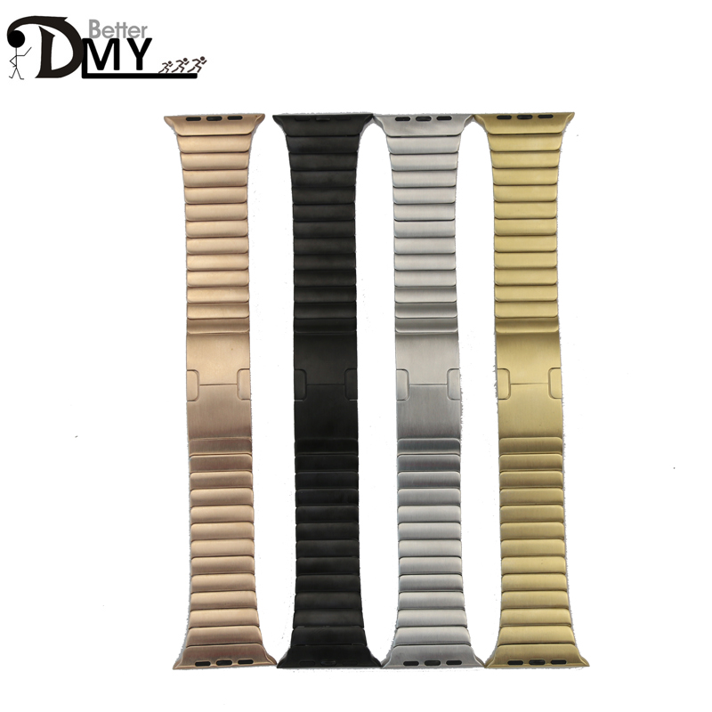 DMY link bracelet for apple watch band original butterfly clasp with stainless steel strap space black&silver 38mm/42mm