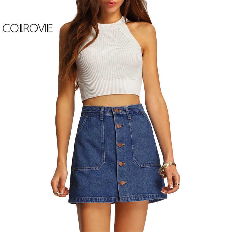 1f8890c001b ... COLROVIE Blue A-line Button Through Denim Skirt Mid Waist Above Knee  Shift Skirt With ...