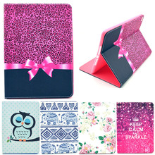 Color Painting Owl Flower For Apple iPad6 Air 2 Cases PU Leather Tablet