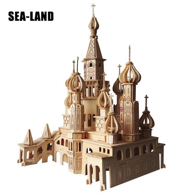 Enfants Jouet De 3D En Bois puzzle pour enfant Et Adulte St. Pétersbourg Église Montessori Educationaly bricolage Jouet Un Bon Cadeau Pour La Famille
