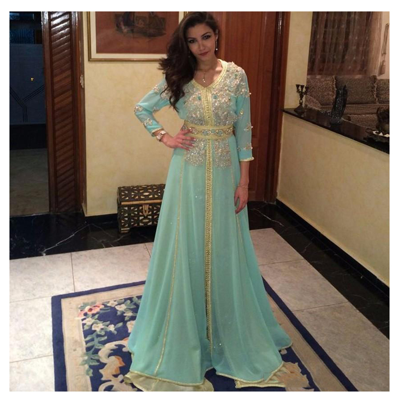 Abendskleid 3/4 Long Sleeves Evening Dresses African Plus Size Royal Mint Green Prom Dress Muslim Party Vestido de noche largo