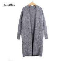 Susi Rita 2017 Long Cardigan Women Loose Knitted Sweater Ladies Long Sleeve Autumn Winter Cardigans Kimono