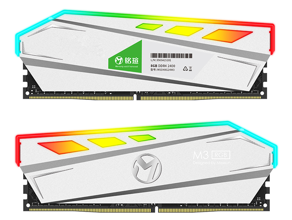 MAXSUN RAM DDR4 8GB/16GB Desktop Memory 2400MHz memory voltage 1.2V 17-17-17-39 Lifetime Warranty 288pin Flash Light Single RAMs 23