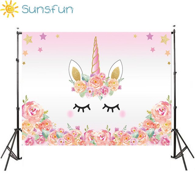 Sunsfun 7x5ft Pink Unicorn Photography Backdrop Birthday