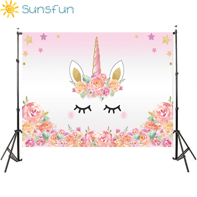 Sunsfun 7x5FT Pink Unicorn Photography Backdrop Birthday Flower Banner Dessert  Table Background Photobooth Photocall 220 x c4d4216766c2