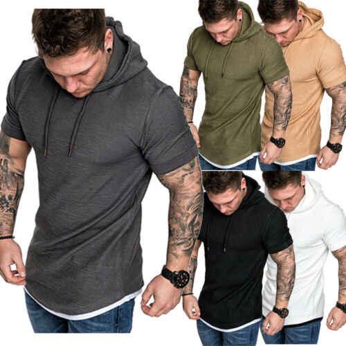 새로운 패션 남자의 가짜 두 조각 짧은 소매 후드 티 후드 슬림 t-셔츠 탑 남성 여름 캐주얼 근육 보디 빌딩 M-XXL