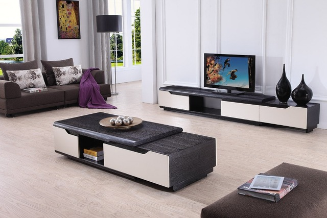 Lizz Contemporary Living Room Furniture Tv Stand And Coffee Table Modern Wooden Cabinet Tea Sets 1055