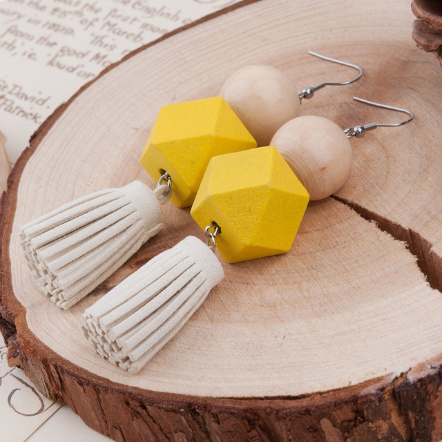 Yellow Round & Square Wood Drop Earrings