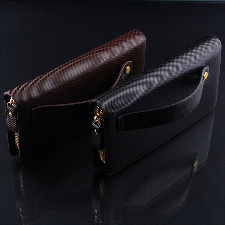 wholesale price famous brand hot sale QB 08 Men's leather wallet pull singles Business . Clutch ...