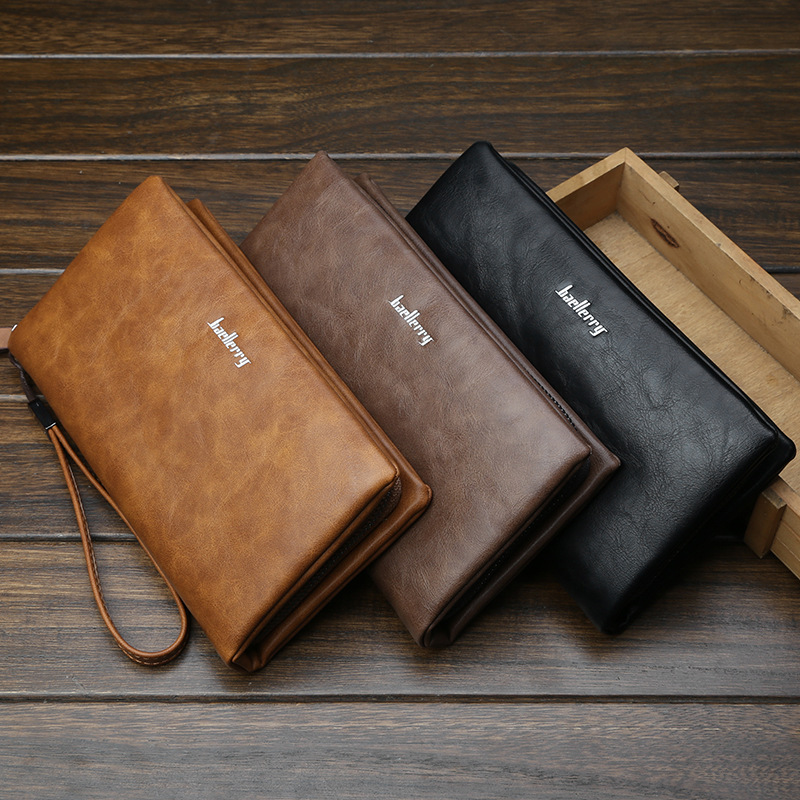 2018 New Classical  Leather Men's Wallets Vintage Style Men Wallet Fashion Brand Purse Card Holder Long Clutch Wallet Business