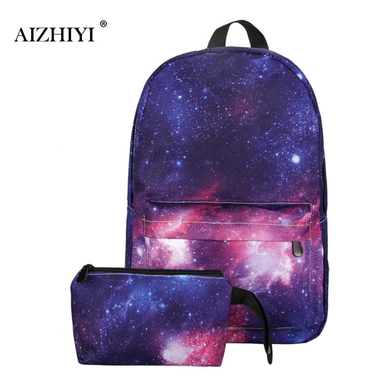 2Pcs/set Female Canvas Backpack Stars Universe Space Galaxy Schoolbag for Teenage Girls Women Printing Backpack Shoulder Bag 2016 new generation multicolor women canvas backpack stylish galaxy star universe space backpack unisex school back bag q 123