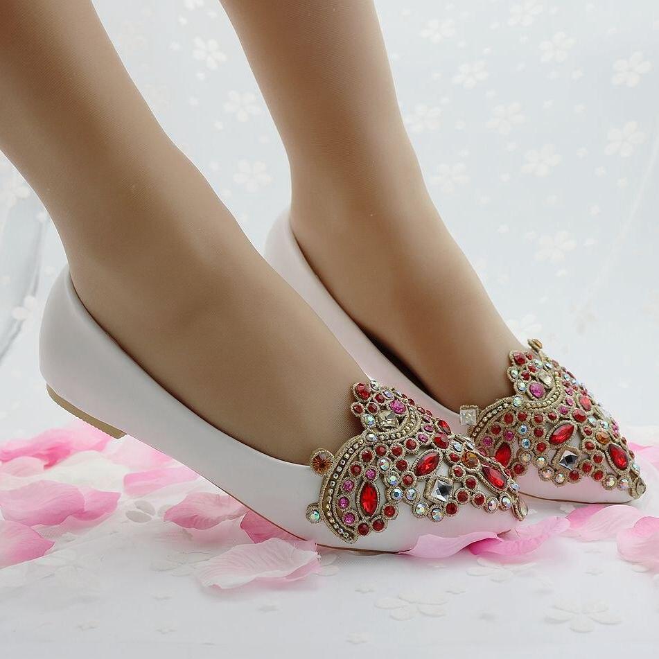 Blanc Plat Femmes Rhinstone Red Talon white De Pointu Pour Mode Chaussures Bout Casual Mariage Appartements Filles TOOqC