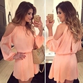 Yienws nuevas mujeres dress summer 2017 hombro casual chiffon dress cut out back cold shoulder sexy robe femme CC8031