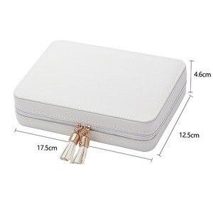Image 5 - 18*5*13cm נייד נסיעות קטן תכשיטי תיבת אחסון שרשרת עגיל ארגונית קופסא עם מראה בתוך קטיפה עור תכשיטי תיבה