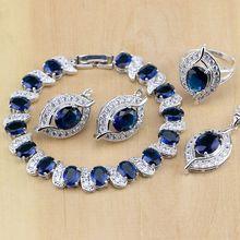 925 joyería de plata esterlina azul CZ joyería blanco ZIRCON Juegos de joyería mujeres pendiente/colgante/Collar/Anillos/pulsera