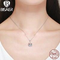Authentic 100% 925 Sterling Silver Dễ Thương Animal Owl Xương Đòn Mặt Dây S925 Necklaces Chain cho Phụ Nữ Đồ Trang Sức Thời Trang HSC341