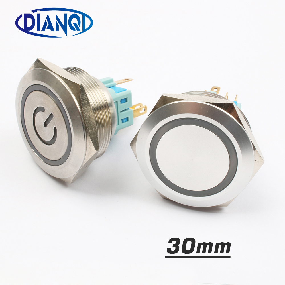 30mm Stainless steel metal push button switch flat round momentary power ring mark 6 pin car switches reset latching fixation langir latching metal push button switch l25f z1 s d dia 25mm led dot illuminated stainless steel with pin terminal