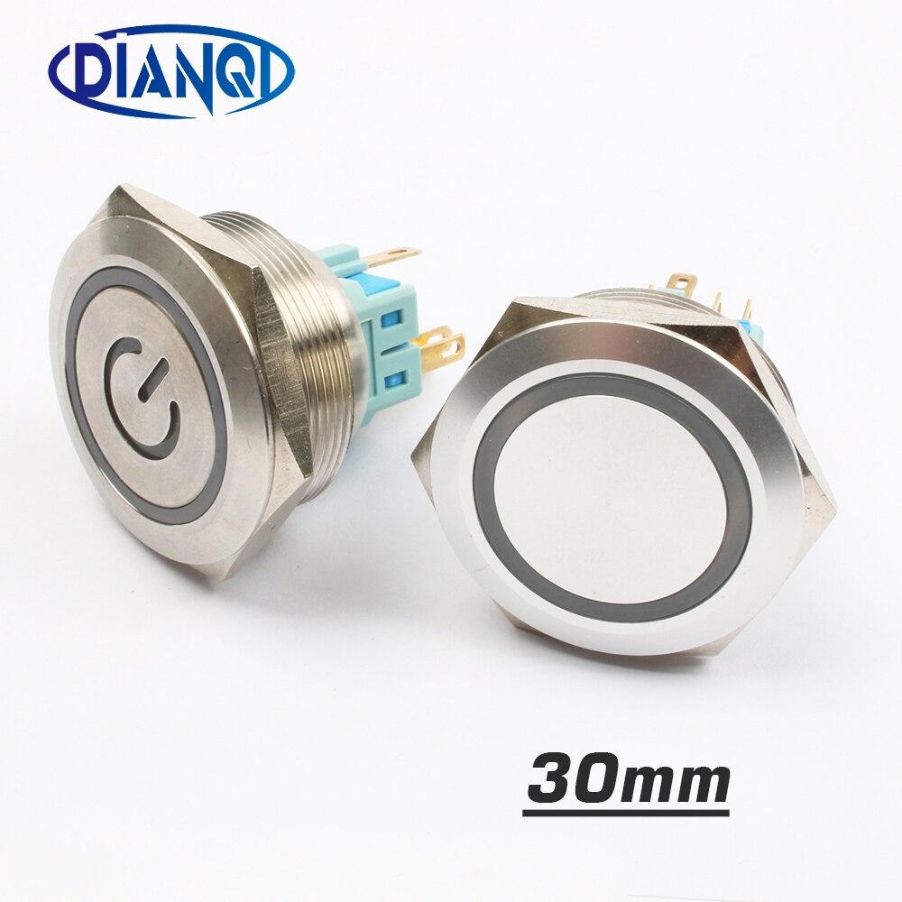 Interruptor de botón pulsador de metal de acero inoxidable de 30mm, anillo de alimentación momentáneo plano, interruptor de 6 pines para coche, fijación de enclavamiento