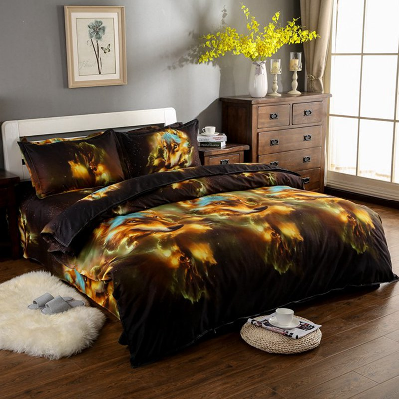 Fashion Animal 3d Wolf Bedding Sets King Queen Full Size