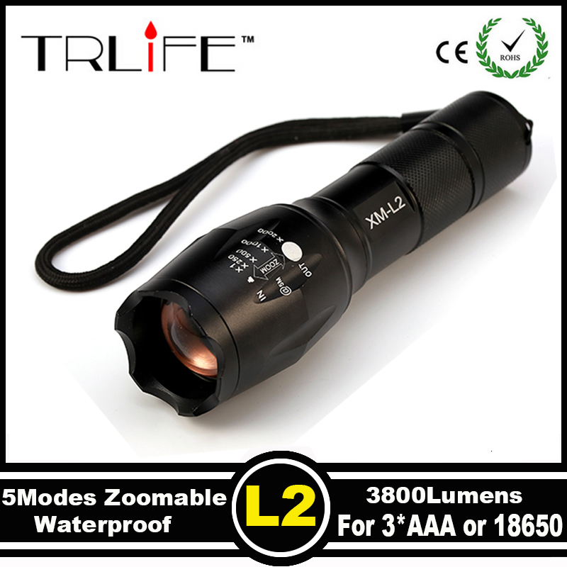 Hot Sale E17 CREE XM-L T6 L2 LED 6000 Lumens Outdoors Led Torch LED Flashlight for bicycle Torch Bike Light Zoomable Focus