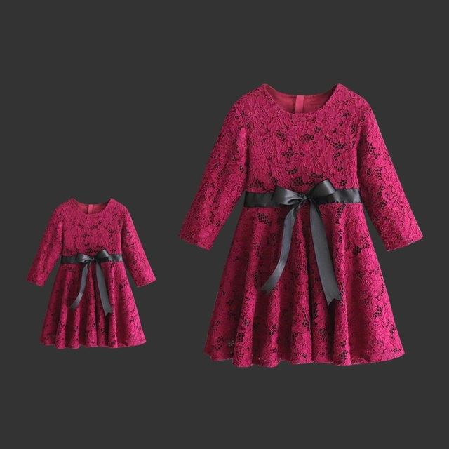 9f527aa8b Autumn children clothing family look outfits dress mom and baby girls  birthday party lace dress mother daughter evening dresses