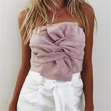 2017 Sexy Suede Solid Strapless Crop Tops Women Bowknot Zipper Fashion Clubwear Bustier Tank Camis Female L127