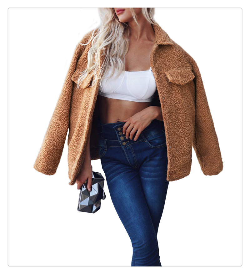 Spot Europe and the United States autumn and winter new style imitation fur foreign trade women plush coat leisure coat women (3)