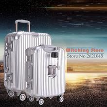 21 INCH 2125# Aluminum 20 men women business PC soft and hard luggage universal wheel 24 travel password board box FREE SHIPPING