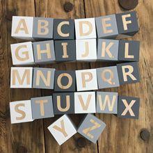 В скандинавском стиле деревянные буквы алфавита детские имя блоки для детской спальни фотосессии Декор новорожденных подарок на память белый розовый