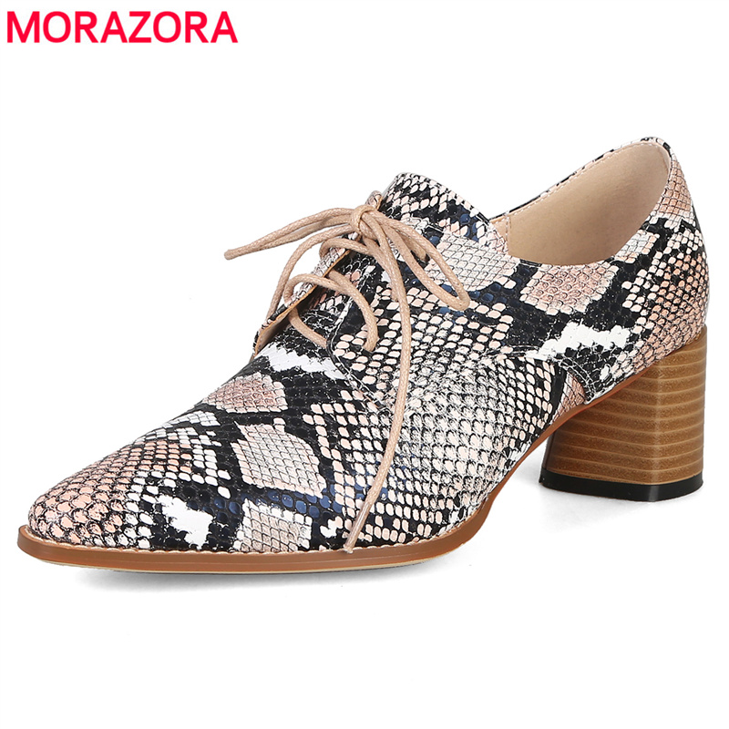 MORAZORA Big size 34-44 new lce up women pumps spring summer high heels shoes snake printing pu leather ladies office dress shoe