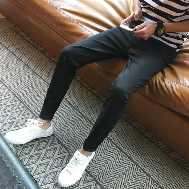 XMY3DWX 2018 autumn man's fashion Pure color leisure cowboy trousers /high-grade male comfortable Slim fit Pencil pants 28-34