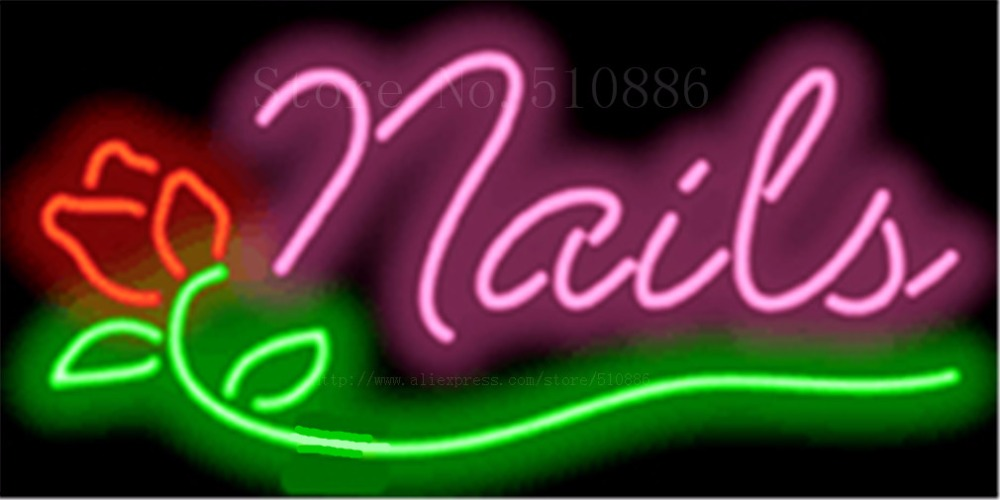 """17*14"""" Nails with Rose NEON SIGN REAL GLASS BEER BAR PUB LIGHT SIGNS store display Restaurant shop beauty and Advertising Lights"""