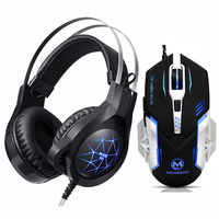 New Gaming Headphones for mobile phone PC Wired Headphones with Microphone LED Light Noise Canceling Headset Mouse Gift