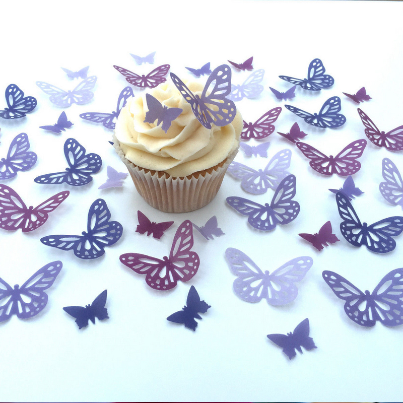 Edible Wafer Butterflies Pre Cut Cup Cake Topper Decorating Wedding Cake Idea Decoration Edible Paper For Cupcake Decoration Leather Bag
