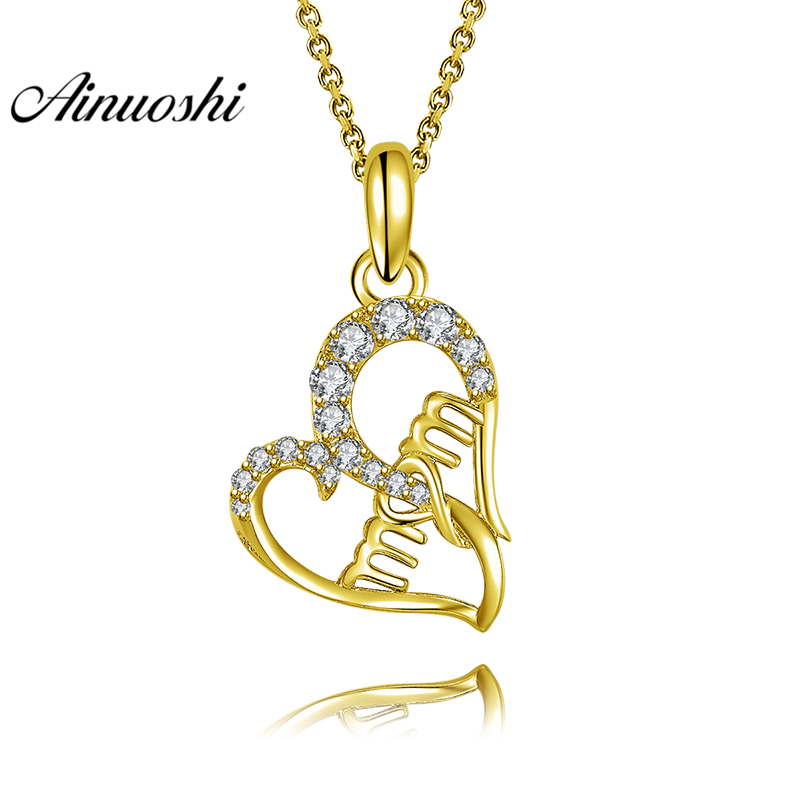 AINUOSHI 10K Solid Yellow Gold Pendant Trendy Heart Pendant SONA Diamond Women Jewelry MOM Letters Design 1.7g Separate Pendant trendy solid color heart pendant necklace for women