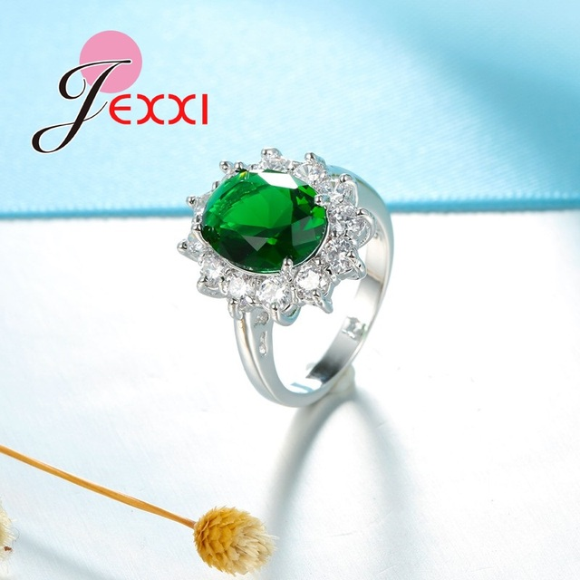 JEXXI Fashion Elegant Princess Cut Crystal Wedding Engagement Bands Rings Women S90 Silver Proposal Rings Accessories