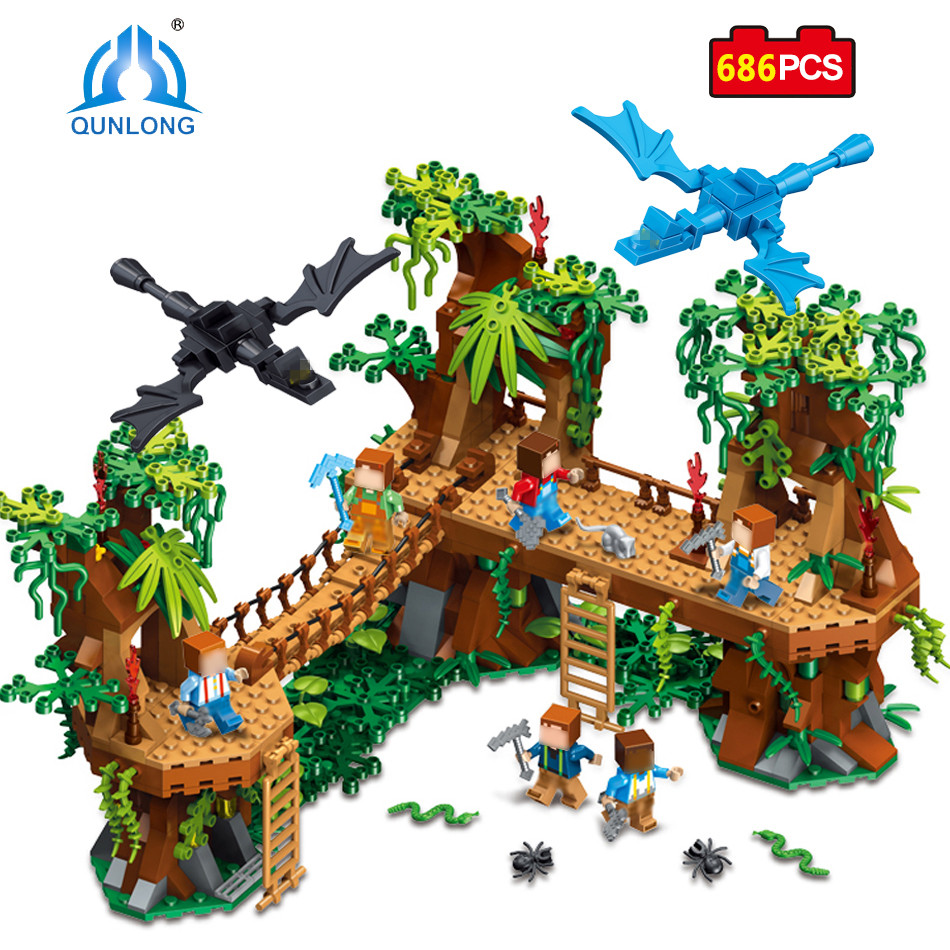 Qunlong MY WORLD Forest Model Building Blocks Action Toy Figure Birthday Gift For Children Compatible Legoed Minecraft City Toys qunlong 0521 my world volcano mine building blocks toy compatible legoe minecraft building block city educational boys toy gift