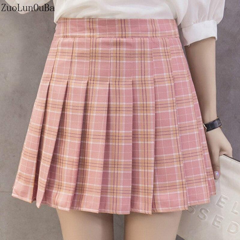 Zuolunouba Tennis Skirt Women Korean Version New High Waist Half Short Skirt College Wind A Word Lattice Pleated Skirt Tutu