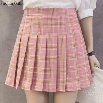 2637b20cde ZuoLunOuBa2019 nueva moda cintura alta Falda plisada Mujer Colegio viento  chica Kawaii rosa de celosía faldas de verano Mini falda