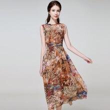 Woman summer plus size O neck Sleeveless Print Ankle-length 100% silk dresses female fall oversized hedging Slim silk dress