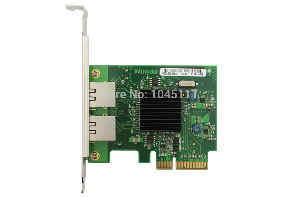 Winyao WY575T 1000Mbps PCI-E X4 Dual Port RJ45 Ethernet Network Server Adapter Card NIC VLAN ROS Sea Spiders Intel82575 I350 winyao wy576 f1 pci e x4 gigabit fiber server network card adapter green
