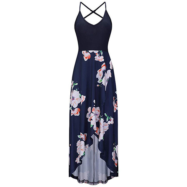 Women Summer Spaghetti Strap Dress Fashion Leisure V-collar Sexy Printed Sleeveless Vestidos Holiday Vocation Beach Long Dress