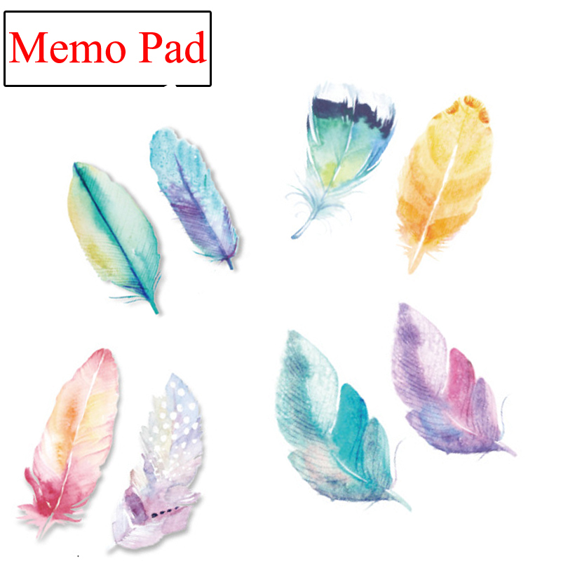 16 pcs/lot Kawaii Colorful Feathers Decoration DIY Post it Memo Pad Bookmarks Stickers Paper Sticky Notes Cute Stationery 01886