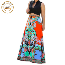 2016 Fashion Summer Women Maxi Long Skirt Europe and America High Quality Digital Printing Loose Floor-Length Women's Skirt