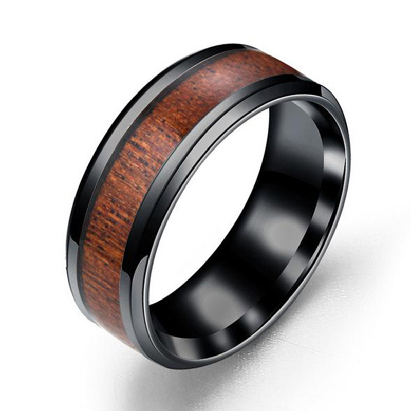 New Arrivals Stainless Steel Round Rings Inlaid Solid Wood