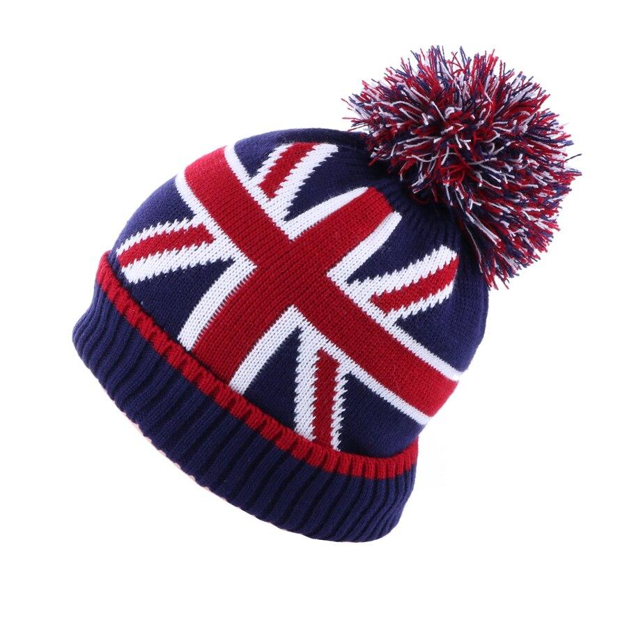 Winter Beanie Hat Warm Crochet Plush Baggy Wool Knitted Pompom Skullies Ball Stripe UK British Flag Slouchy Velvet Snow Ski Cap