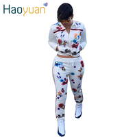 HAOYUAN 2016 Autumn Two Piece Set Women Clothes Tracksuits Long Sleeve Sweatshirts Hoodie Pants Woman Track