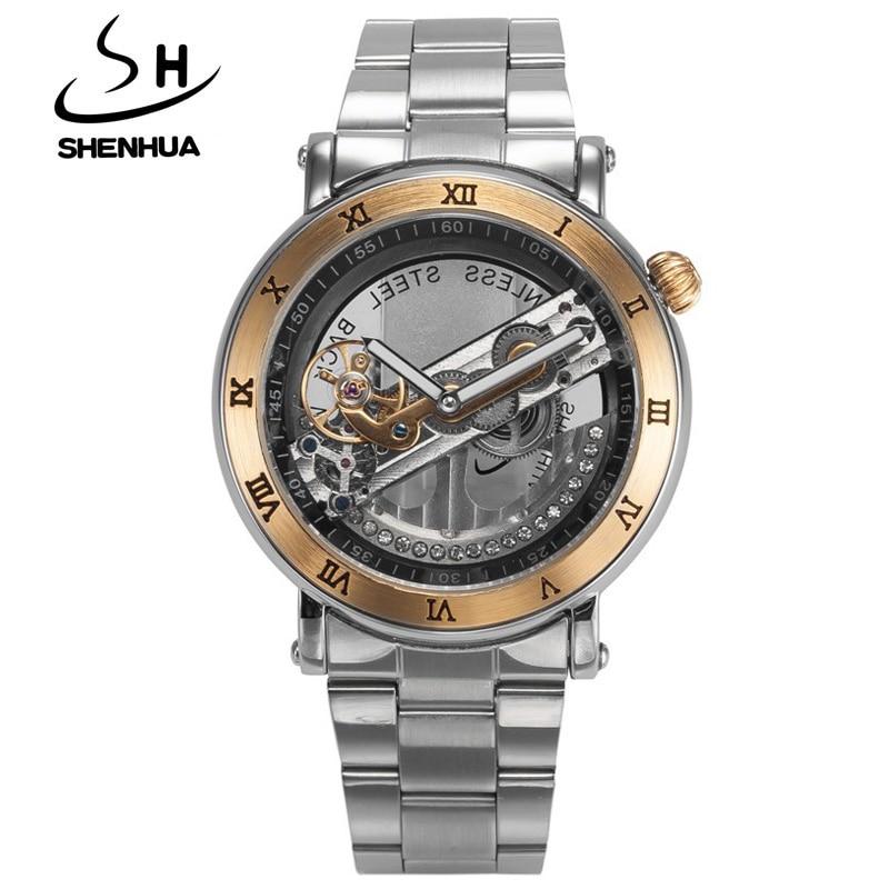 ФОТО SHENHUA Luxury Gold Flywheel Automatic Mechanical Skeleton Watch Men Male Waterproof Clock Hollow Transparent Watch Wrist Watch