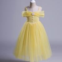 1 Piece Girls Dress Blue Color Shoulderless Kids Princess Party Clothes 3 8 Flower Girls Dress